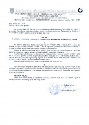 Odluka o dodjeli ugovora ponuđaču: Pertušić & Co, Advokatsko društvo d.o.o. Zenica